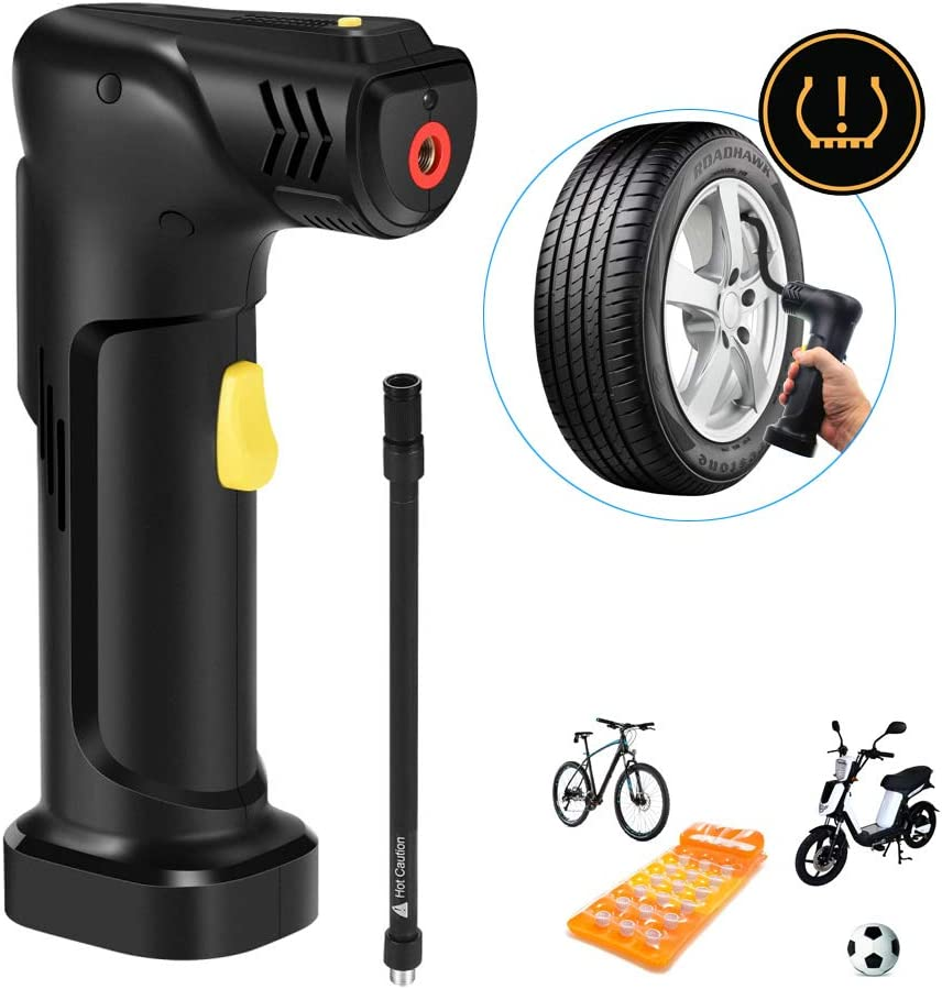 Mini Air Compressor Electric Car Air Pump Tyre Inflator with 12v DC Car Charger 2000mAh Rechargeable Battery LED Light 120PSI Hand Held Pump for Car/Bike/Motor Tires Sport Ball Toy Ball Inflatable
