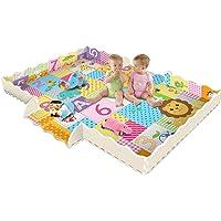Alfombrilla de juegos para bebé con valla, 2 cm de grosor, de espuma entrelazada, azulejos de suelo, alfombrilla de arrastre con estampado de león king, sala de juegos, guardería, para bebés y niños