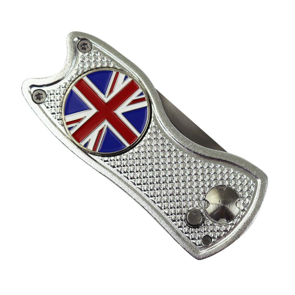 英国旗ゴルフボールマーカー(シルバー)とPINMEIスイッチブレードゴルフディボットツール   B07DPC3FZB