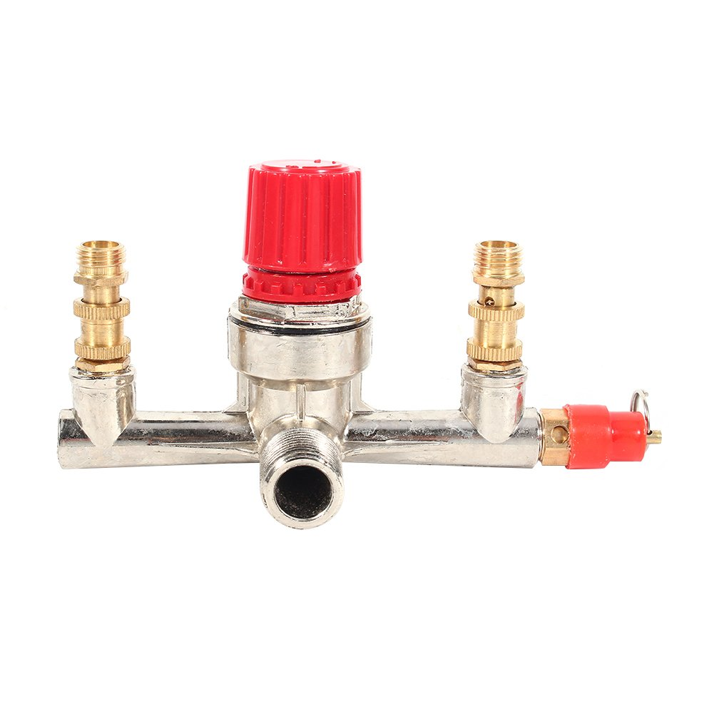 Air Pressure Regulator - Double Outlet Tube Alloy Air Compressor Switch, Pressure Regulator Valve Fit Part