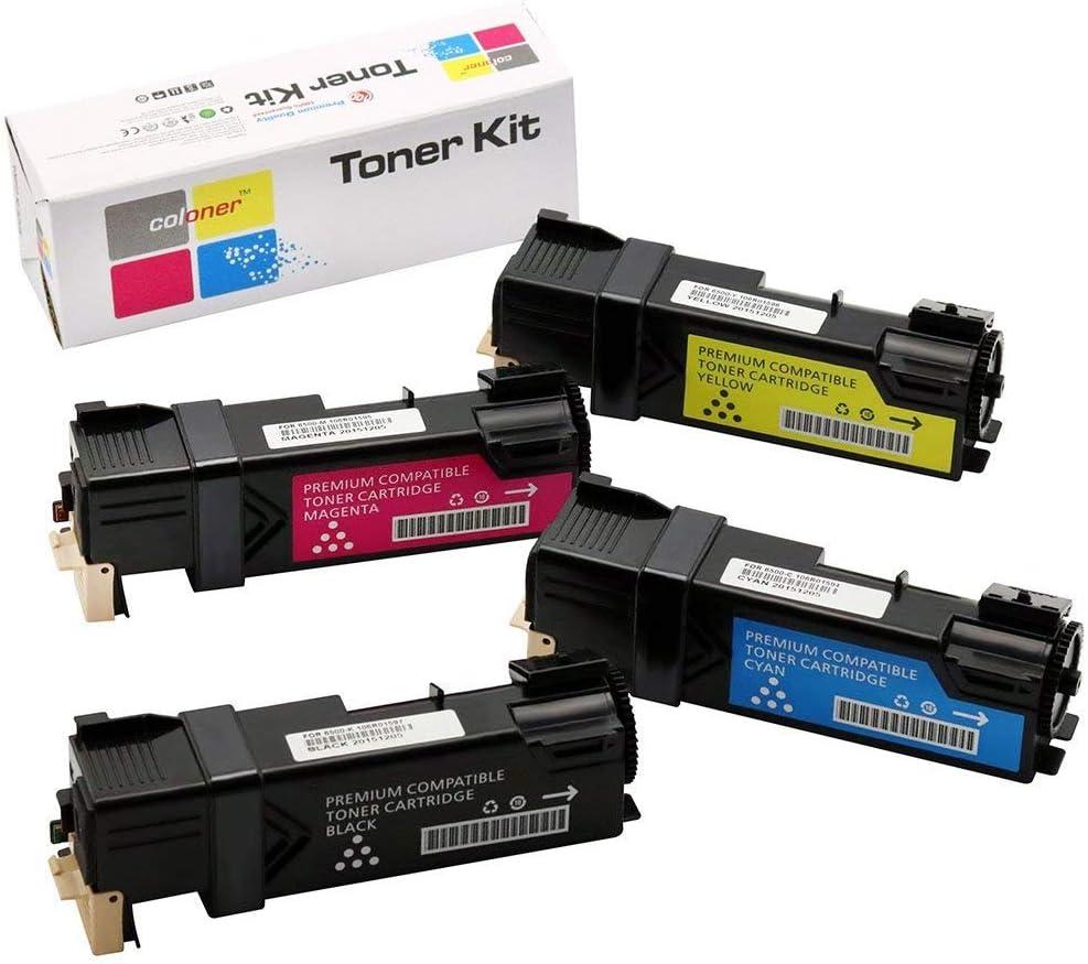 4 Pack Coloner Compatible Dell 2150, 2155 Toner Cartridge (Black:331-0719 Cyan:331-0716 Magenta:331-0717 Yellow:331-0718) Compatible with Dell 2150, 2150cdn, 2150cn, 2155cdn, 2155cn Printer