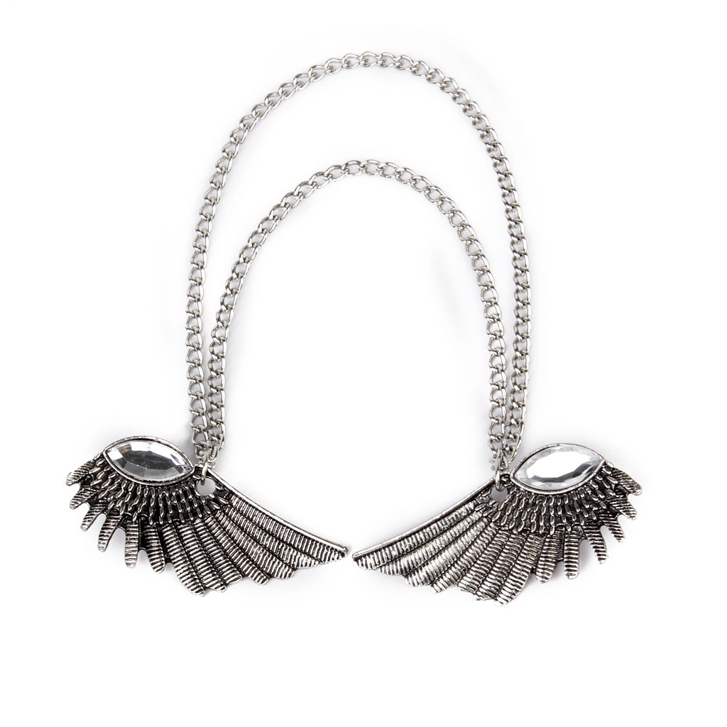 Angel Wings Dangle Chain Collar Tip Shirt Stud Brooch with Rhinestones Silver by Generic (Image #7)