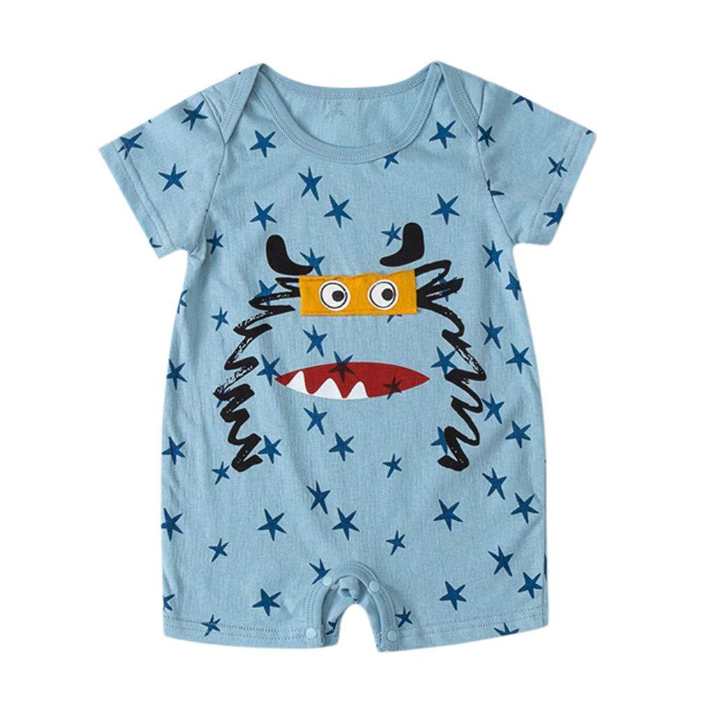 NUWFOR NewbornBaby Boy Kids Girls Cartoon Infant Summer Rompers Outfits Clothes(Light Blue,0-6 Months)