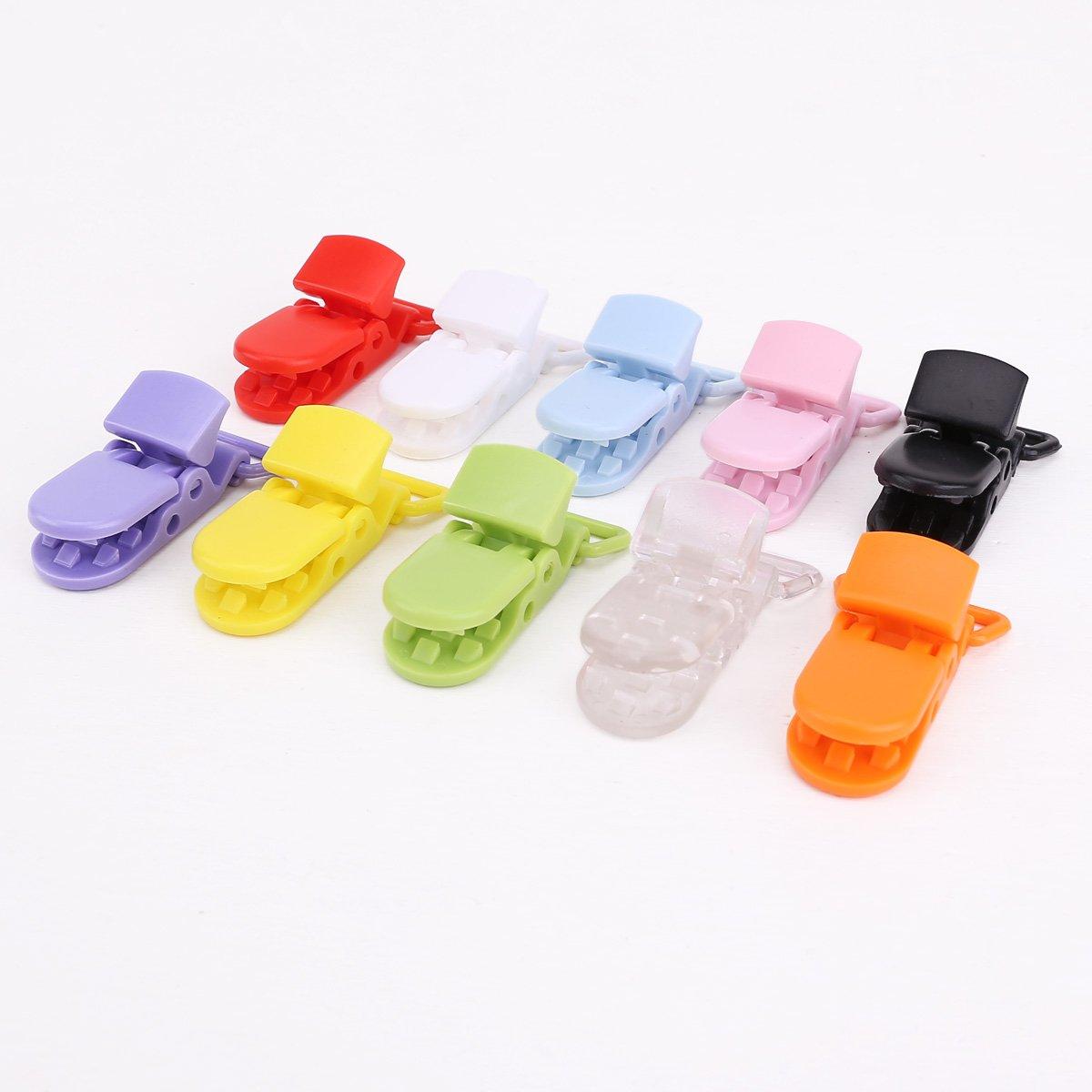 VStoy 50pcs correa chupete clip clip de plástico de 10 colores