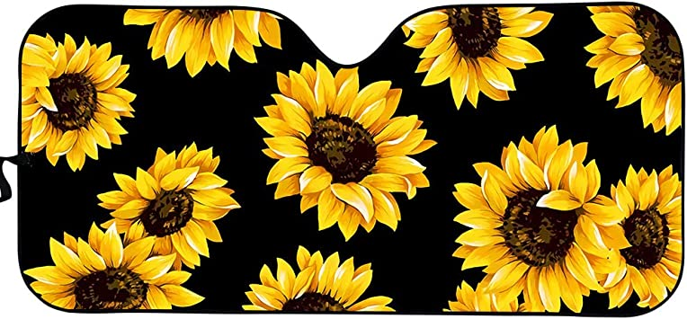Flower Designs Auto Car Truck SUV Vehicle Universal-fit Front Windshield Sunshade Pack of 2 Car Front Sun Visor HUISEFOR Fashion Daisy Windshield Sun Shade