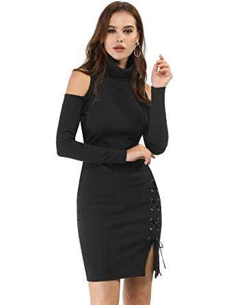 f1de831fcb4ca Allegra K Women s Cold Shoulder Dresses Turtleneck Lace Up Sweater Bodycon  Dress Black XS (US