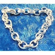 5Pcs. Tibetan SP 71/4'' Heavy 9x7mm Oval Chain Charm Bracelet Lobster Clasp B26 Crafting Key Chain Bracelet Necklace Jewelry Accessories Pendants