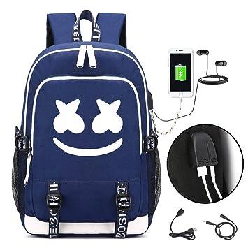 Unisex DJ Marshmello Mochilas Escolares, Schoolbag Mochila para portátil Bolsa Fresca para Adolescentes Mochila Casual Bolso de Viaje con USB Puerto (Azul ...