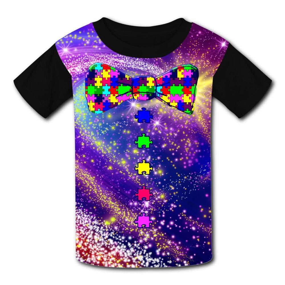 Elcacf Kids Tees Funny Autism Awareness Bow Tie Comfortable Print Short Sleeve T-Shirts Children Funny Creative Boys Girls