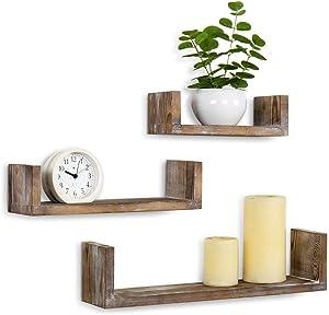 MyGift Wall Mounted Whitewashed Brown Wood U-Shaped Floating Shelves, Set of 3