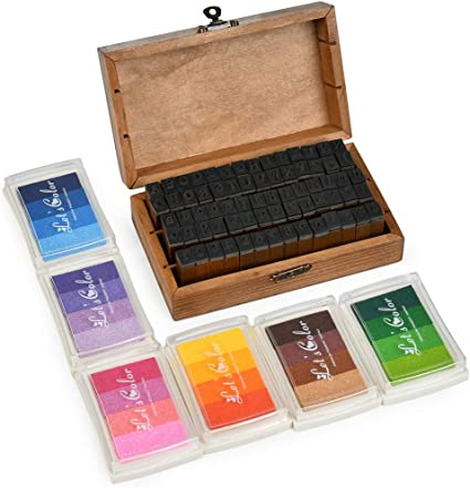 Wooden Stamp Set DIY Craft Wood Multipurpose 70Pcs Alphabet Rubber Stamps Alphabet Stamps for Kids for Scrapbook Card Making Crafts