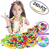 240 Pcs Pop Snap Beads Set Kids Necklace Jewelry Making Kits for Necklace and Bracelet Ideal Art Crafts Gift Toys for Kids Girls.