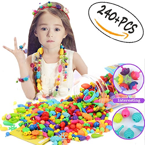 240 Pcs Pop Snap Beads Set Kids Necklace Jewelry Making Kits for Necklace and Bracelet Ideal Art Crafts Gift Toys for Kids Girls. by DIY House