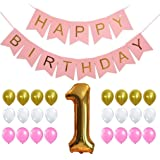 FIRST BIRTHDAY DECORATION SET - Perfect for 1st Bday Party, Pastel and Gold Foiled Happy Birthday Bunting Banner Pink Sign ,Gold Number One Balloon, Gold Pink White Balloons Set