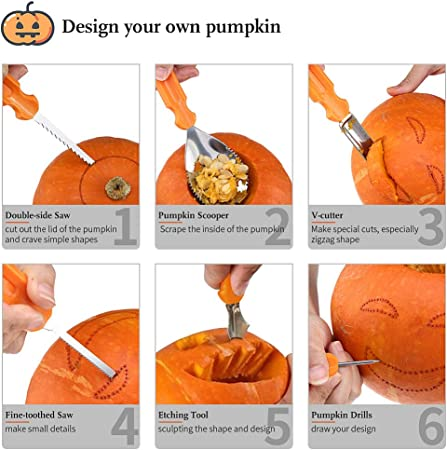 13 Pieces Stainless Steel Professional Carving Tools with Carrying Case SAMMIU Halloween Pumpkin Carving Kit