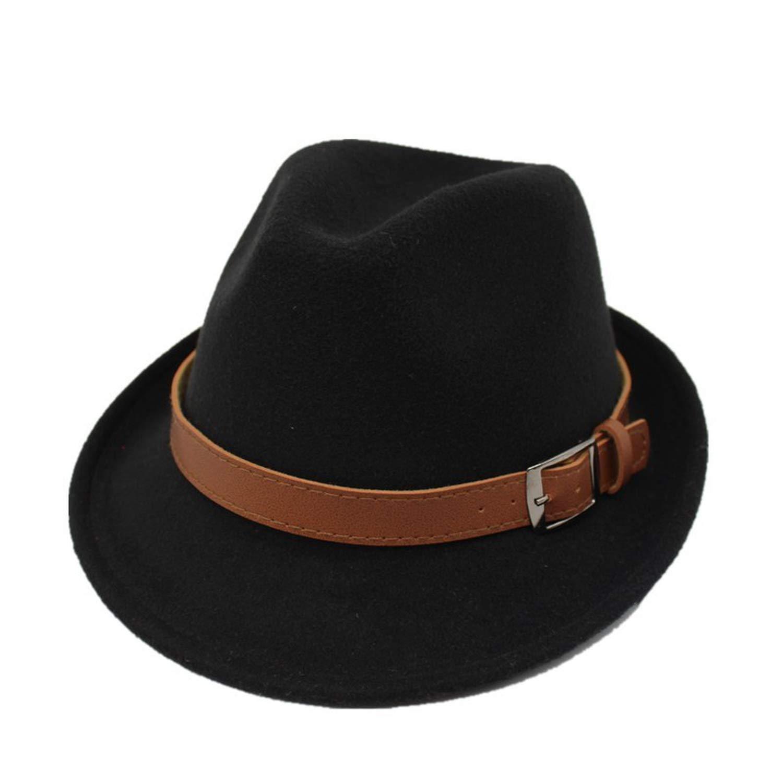 DOSOMI Wide Brim Men Fedora Hats Jazz Caps Flat top hat Wool Brief Style hat