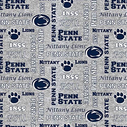 Penn State University Fleece Blanket Fabric-Penn State Heather Grey Fleece Fabric Sold by The Yard