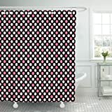 Pink and Purple Polka Dot Shower Curtain Breezat Shower Curtain Purple Abstract Pattern with Pink Polka Dots on Black Baby Waterproof Polyester Fabric 72 x 72 Inches Set with Hooks