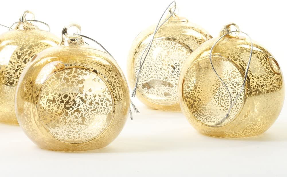 Koyal Wholesale Glass Hanging Tea Light Holder, 6-Pack Terrarium Container 3-Inch, Antique Gold