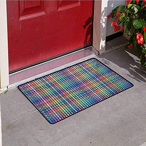 Jinguizi Colorful Welcome Door mat Illustration of Crossed Stripes Knitted Pattern Abstract Composition of Squares Door mat is odorless and Durable W47.2 x L60 Inch Multicolor Double Crossed Bamboo Tree