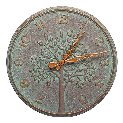 Whitehall 16 in. Indoor Outdoor Wall Clock in Copper Verdigris