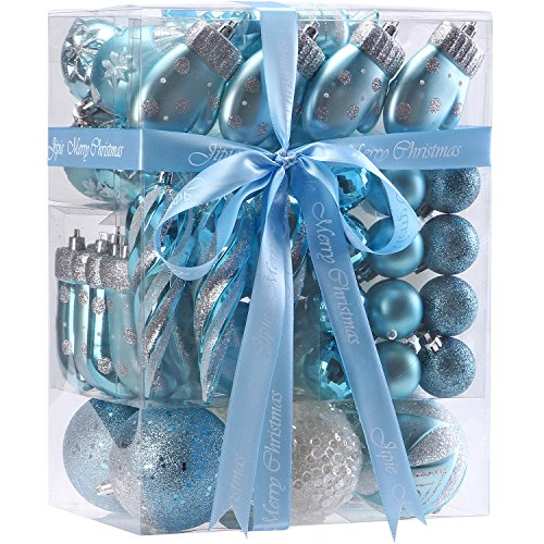 - JIPIE 65 Pieces of Assorted Shatterproof Christmas Ball Ornaments Set Seasonal Decorative Hanging Ornament Set with Reusable Ribbon Gift Package for Holiday Xmas Tree Decorations, Babyblue