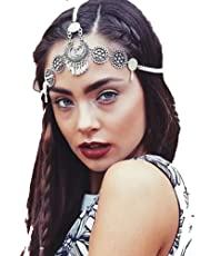 Bohemia Headbands for Women Hair Accessories Antique Silver Chain Drape Head Piece Chains Tassel Tiaras Hairbands
