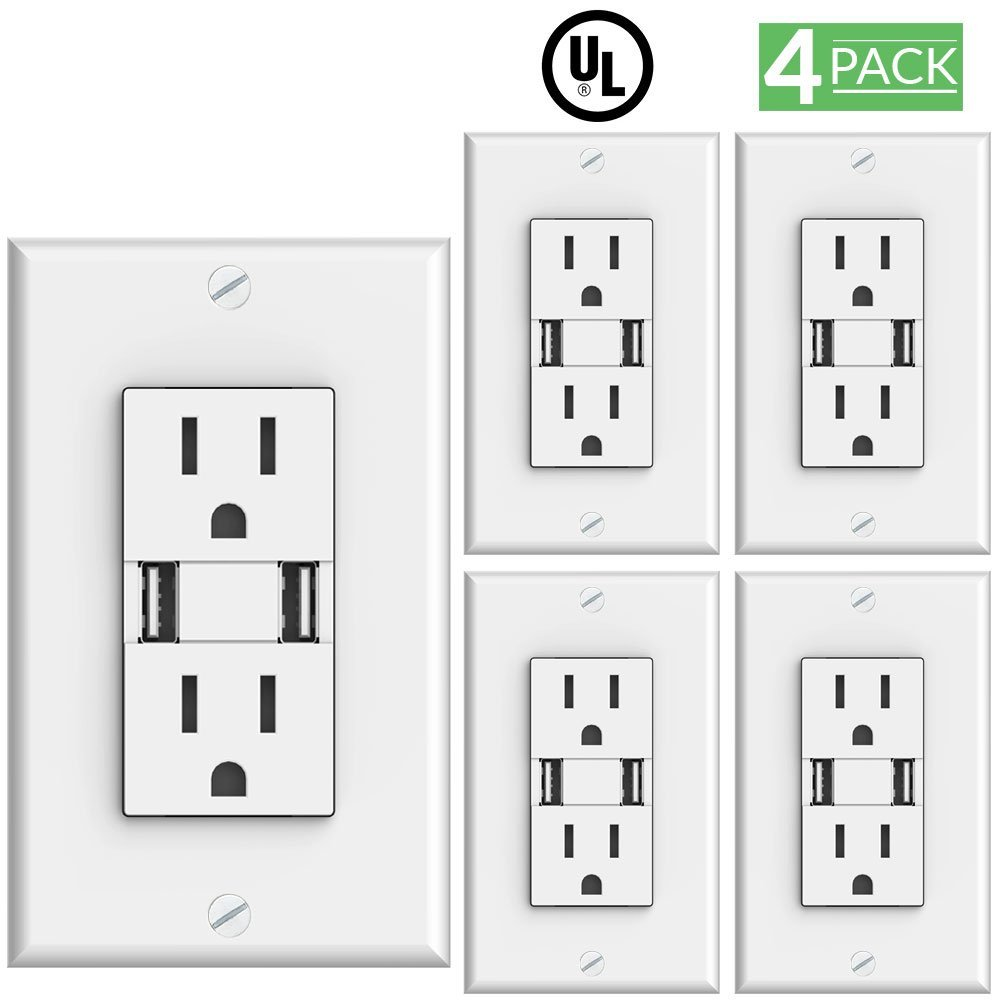 Sunco Lighting 4 Pack 3.1-Amp High Speed Dual USB Charger / 15-Amp Duplex Outlet (White) 5 Volt DC, Wall Plate Included, 2 Charge Ports, Tamper Resistant, Tablet Phone Charging Receptacle - UL Listed