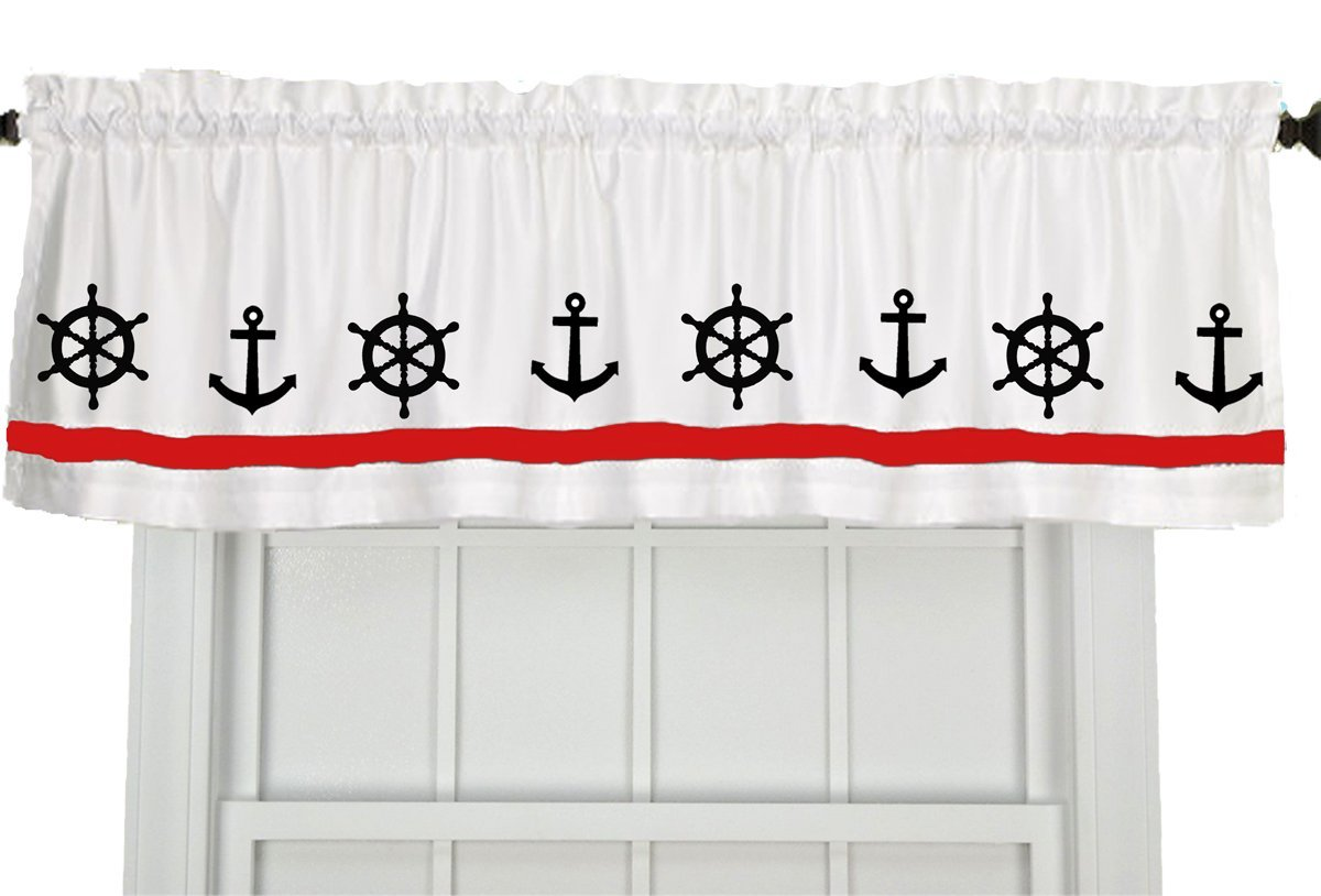 Anchor Ship s Wheel Boating Nautical Window Valance Window Treatment – In Your Choice of Colors – Custom Made