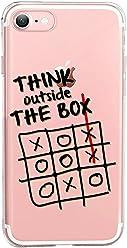 Girlscases® | iPhone 8/7 Hülle | Mit coolen Spruch Aufdruck Motiv | Think Outside The Box | Case transparente Schutzhülle | Farbe: schwarz |