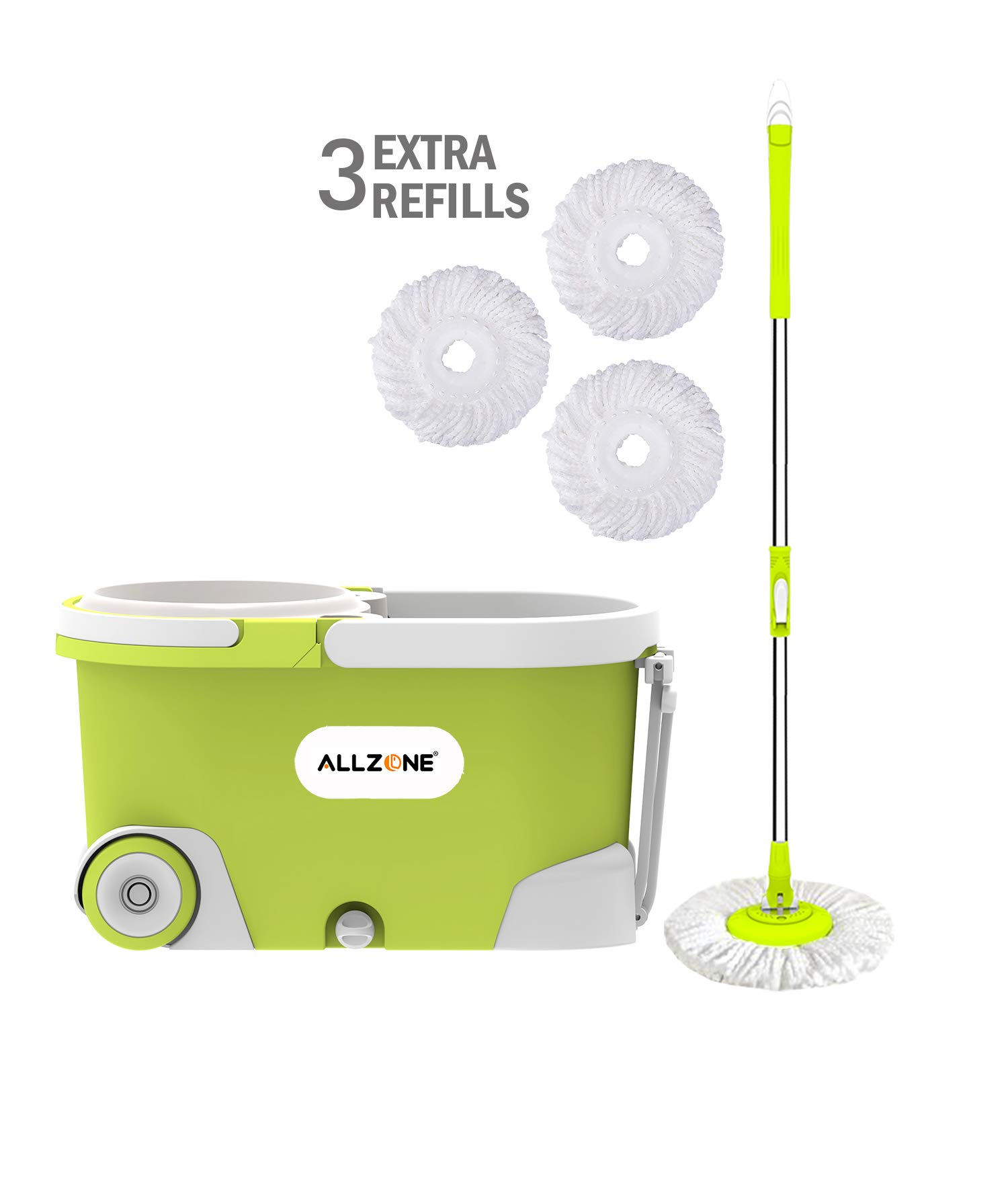 ALLZONE Spin Mop Bucket With Wringer On Wheels, Hardwood Floor Cleaning System, With 3 Microfiber Mop Refills