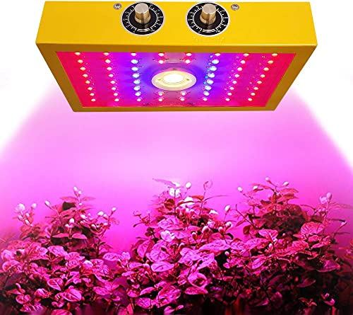 MINGSSTORE 1200w LED Grow Light,Dual chip LED Plant Grow Lamp,Full Spectrum Double Switch Plant Light,for Greenhouse and Indoor Plant Flowering Growing, 10W,Knob to Adjust The Spectrum