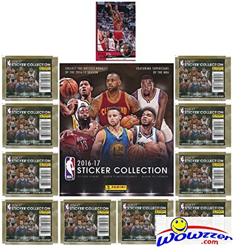 (2016-17 Panini NBA Basketball Stickers EXCLUSIVE Special Collectors Package with 10 Sticker Packs & 72 Page Collectors Album! Plus Bonus of Vintage Michael Jordan Chicago Bulls Card!)