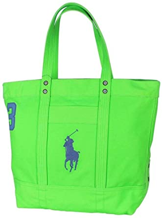 Polo Ralph Lauren Cotton Canvas Big Pony Zip Tote Bag Ultra Lime