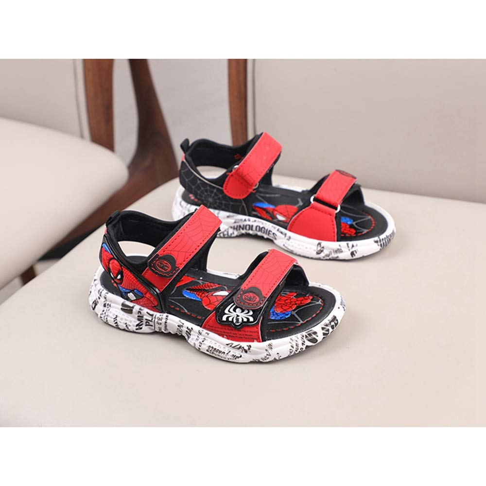 ANKIDS Kids Beach Shoes Boys Spiderman LED Fashing Soft Sandals