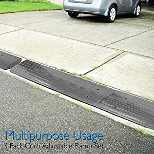 Pyle Car Driveway Curb Ramp - Heavy Duty Rubber Threshold Ramp - Also for Loading Dock, Garage, Sidewalk, Truck, Scooter, Bike, Motorcycle, Wheelchair Mobility & Other Vehicle - PCRBDR24