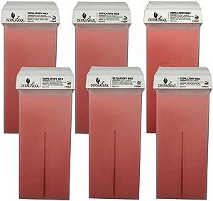 Dermawax Titanium Rose 6 piezas de cartuchos de cera roll-on de 100 ml, cartuchos de cera tibia, cera depilatoria, depilación con cera tibia, set de recarga para el cuidado del cuerpo