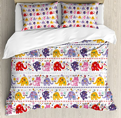 Ambesonne Kids Duvet Cover Set King Size, Dancing Floral Elephant Characters Smiling Faces Colorful Daisies Happy Singing Birds, Decorative 3 Piece Bedding Set with 2 Pillow Shams, Multicolor