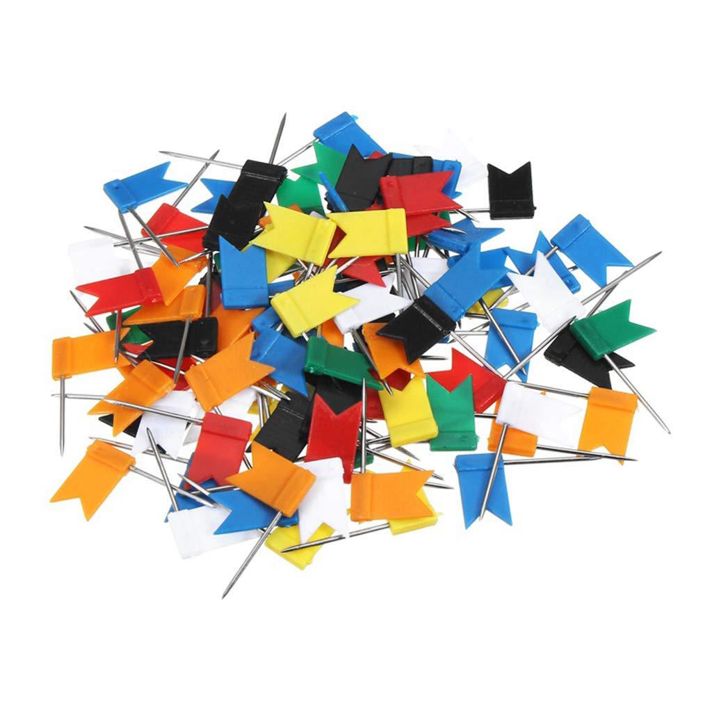 Assorted 7 Colors Yevison Premium Quality 160 Pieces Push Pins Map Flag Push Tacks