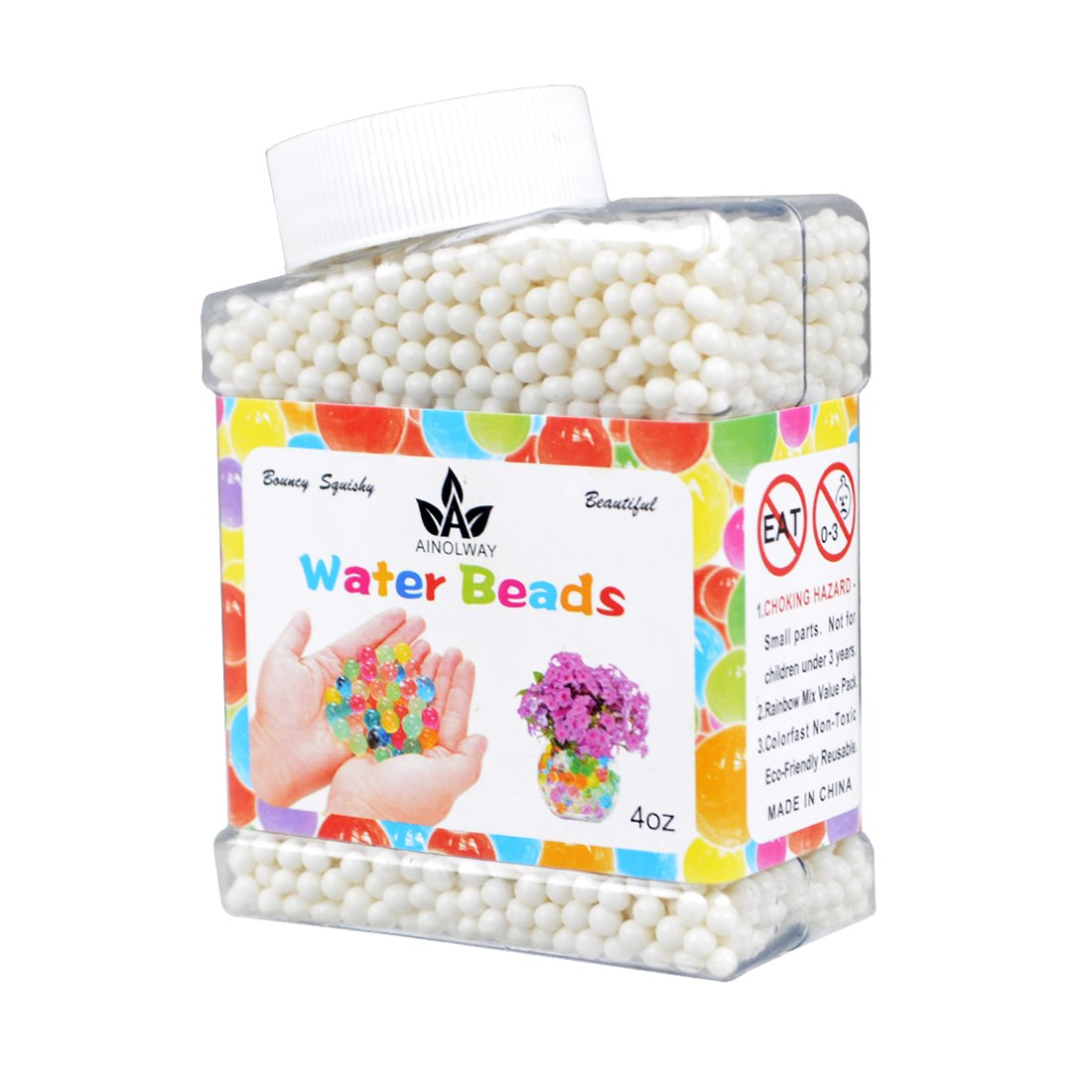 AINOLWAY High Elastic Water Beads Gel Pearls Jelly Crystal Soil for Kids Sensory Toys or Vase Fillers 4oz Almost 15,000 Pcs (Black)