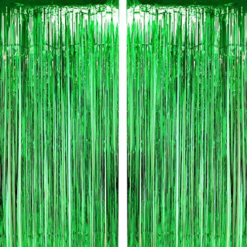 Green Tinsel Foil Fringe Curtains Tropical Jungle Safari Hawaiian Baby Shower Birthday Photo Backdrops Wedding Party Decor Photo Booth Props Backdrops Decorations