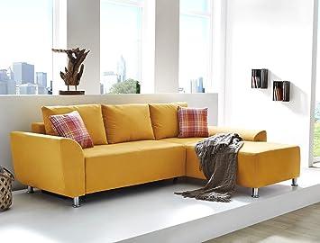 Wohnlandschaft Livia 246x180 Mikrofaser Gelb Senffarben Funktionssofa Couch Sofa Wohnzimmer Polsterecke Ottomane