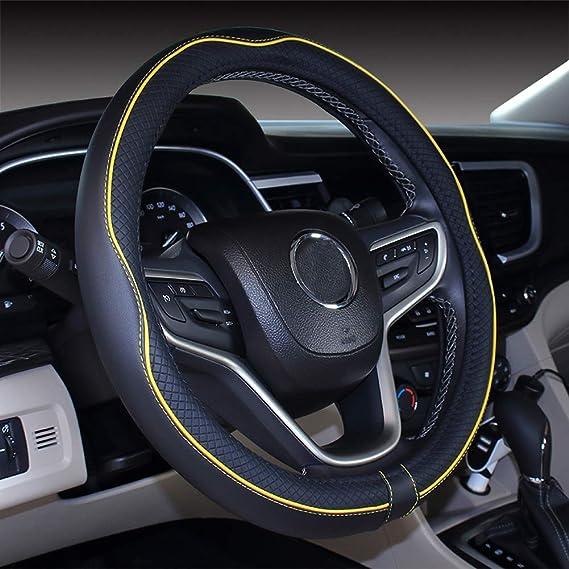 Istn Mikrofaser Leder Auto Lenkradbezug 38cm Für Die Meisten Autos Black Yellow Auto