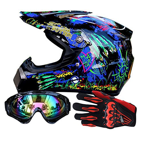 Miidii Men Helmet + Goggles + Gloves Racing Off-Road Helmet Dirt Bike ATV Gear Motocross Helmet (Color 5,XL)
