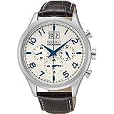 Seiko - SPC155P1 - Montre Homme - Quartz Chronographe - Cadran Gris - Bracelet Cuir Noir