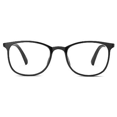66b83b6879 LUOMON Square Glasses Classic Retro Ultem Frame Clean Lens eyeglasses  optical (Bright Black)