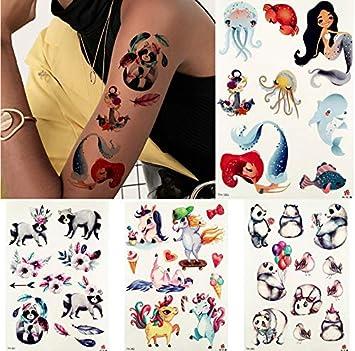 yyyDL tatuajes temporales 3D sirena de dibujos animados mapache ...