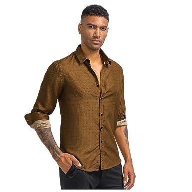 Luckycat Hombre de Camisa fácil de Planchar de Slim Fit para ...