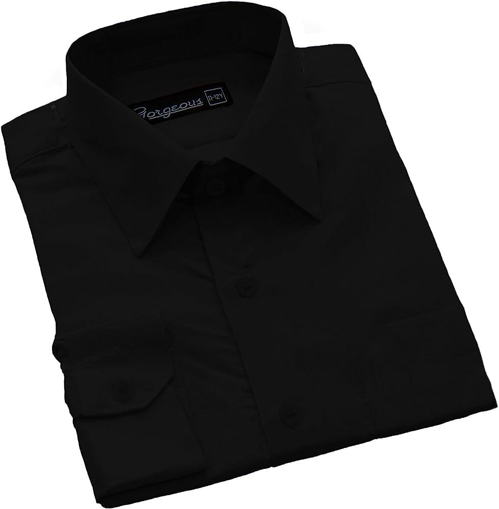 Gorgeous Collections - Camisa formal para niños (6 meses, 16 años) Negro Negro (3-4 Años: Amazon.es: Ropa y accesorios