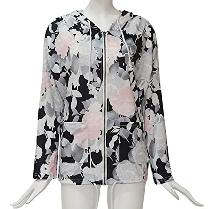4584871a1c4 iSkylie Clearance!Zipper Up Women Floral Printed Hoodie Sweatshirt Coat  Jumper Pullover Top Blouse(